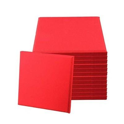 BQLZR 30x30x2.5cm Red Fiberglass Acoustic Home Studio Soundproof Panel Tiles Pack of 12