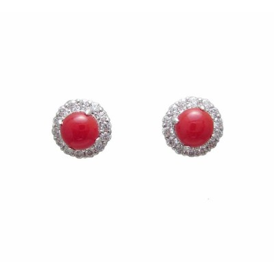 血赤 サンゴ ダイヤモンド ピアス プラチナ製