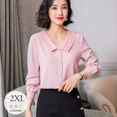 シャツ ブラウス トップス レディース 大きいサイズ 母親 長袖 きれいめ イエロー ピンク パープル Vネック 襟付き きれい色 無地 シンプル ビジネス