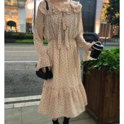 オルチャン 韓国 ファッション ワンピース 花柄 ひざ丈 透け感 シフォン 裾フレア リボン プリント ゆったり 長袖 上品 レトロ ガーリー