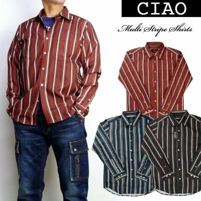 ciao チャオ メンズ シャツ マルチストライプ レギュラーシャツ 長袖シャツ 28-880