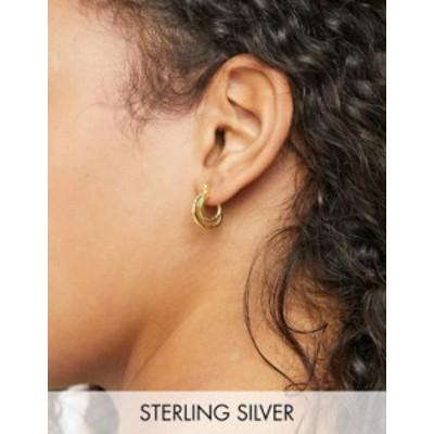 エイソス レディース ピアス・イヤリング アクセサリー ASOS DESIGN sterling silver with gold plate hoop earrings in crystal double