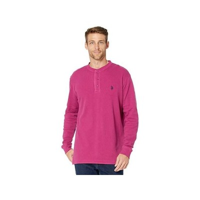 U.S. POLO ASSN. Long Sleeve Solid Thermal Henley メンズ シャツ トップス Midnight Berry