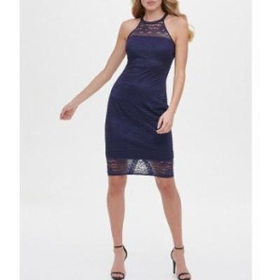 ゲス レディース ワンピース トップス Halter Neck Sleeveless Strappy Back Lace Sheath Dress Navy