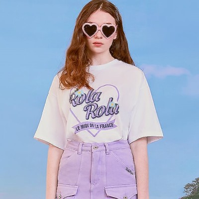 [ROLAROLA](TS-20305)ROLAハートフラワーTシャツ WHITE
