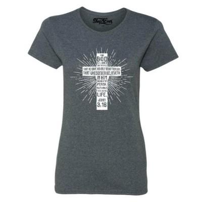 レディース 衣類 トップス Shop4Ever Women's John 3:16 Cross Graphic T-Shirt グラフィックティー
