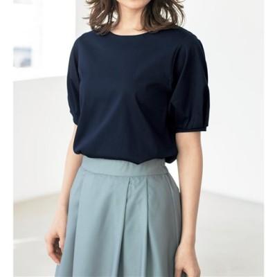 パフスリーブTシャツ/シルケット加工 綿100%(洗濯機OK)/ネイビー/L