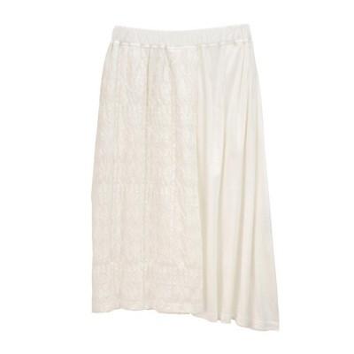 <Plantation(Women)/プランテーション> クラッシュレースドッキングスカート white(01)【三越伊勢丹/公式】