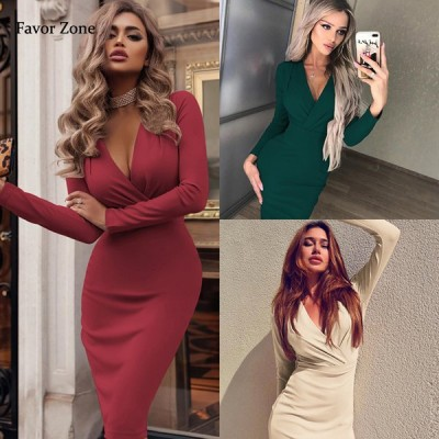 女性のドレス 秋冬カジュアル 無地 長袖 オフィスレディ ドレス Vネック ボディコン パーティードレス|ドレス|
