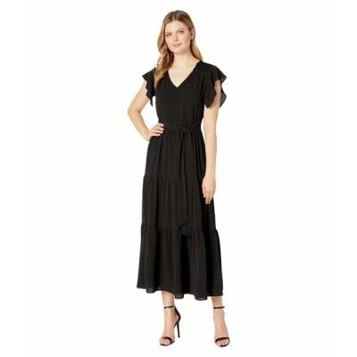 ECI ワンピース トップス レディース Short Ruffle Sleeve V-Neck Tiered Skirt Maxi Dress Black