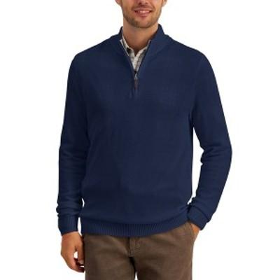 クラブルーム メンズ ニット&セーター アウター Men's Quarter-Zip Textured Cotton Sweater Navy Blue