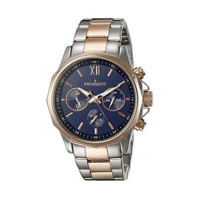 Peugeot Men's 1046TBL Stainless Steel Two-Tone Rose Gold Multi-Function Calendar Two-Tone Watch 並行輸入品
