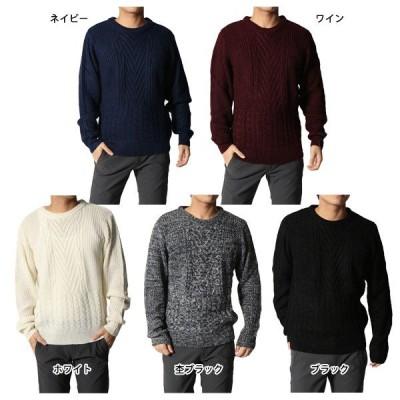 アクリルタームヤーンケーブル&天竺編みクルーネックセーター