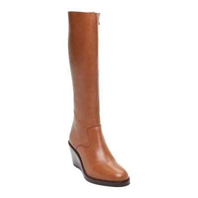 クラークス ブーツ&レインブーツ シューズ レディース Clarkdale 2 Hi Wedge Heel Knee High Boot (Women's) Dark Tan Leather
