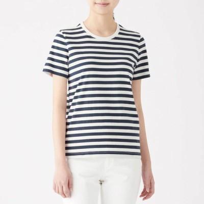 無印良品 インド綿天竺編みクルーネック半袖Tシャツ(ボーダー) 婦人S 白×ダークネイビー(中細) 良品計画