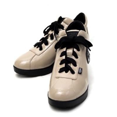 ルコライン アウトレット スニーカー アージレ 靴 agile-030 ULTRA1959 光沢 エナメル調 ベージュ ファスナー付 agile by RUCO LINE