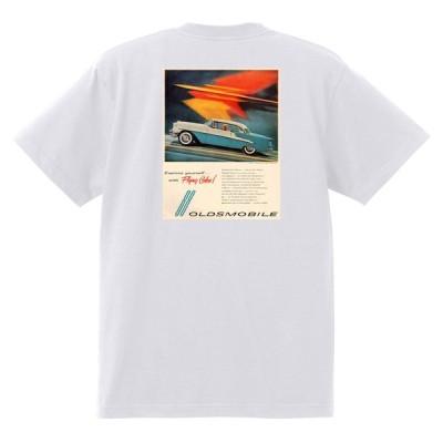 アドバタイジング オールズモビル 633 白 Tシャツ 黒地へ変更可  1955 ゴールデン ロケット 88 98 スーパー ホリデー ホットロッド ローライダー
