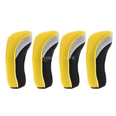 ゴルフ ハイブリッド クラブ ヘッドカバー ネオプレン 保護 交換可能 番号タグ 全7色 - 黄