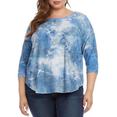 カレンケーン レディース Tシャツ トップス Plus Size 3/4 Sleeve Tie Dye Burnout Shirttail Hem Top