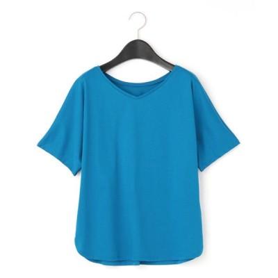 COMME CA/コムサ VネックラインドルマンTシャツ ブルー F