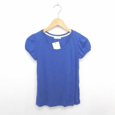 【中古】未使用品 インデックス INDEX タグ付き Tシャツ カットソー 丸首 無地 シンプル 半袖 S 青 ブルー /TT44 レディース 【ベクトル 古着】