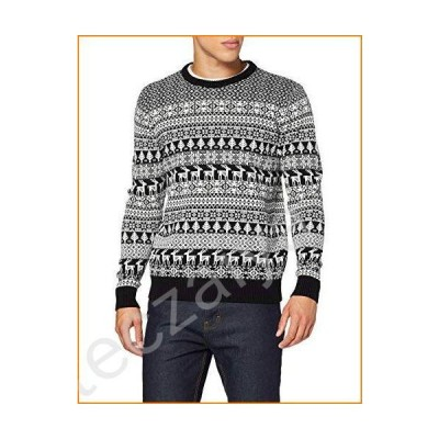 British Christmas Jumpers Black Deer Man Mens Xmas Sweater - Made In Great Britain (Medium)並行輸入品