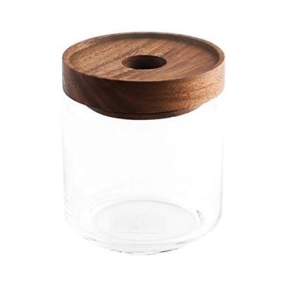 スワンソン商事 Chabatree 保存容器 ガラス製 500ml グラスジャー 約直径9×高さ10.5cm パッキン付き アカシア木蓋 S