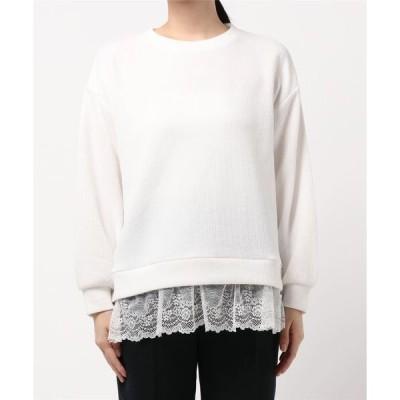tシャツ Tシャツ 裾レースプルオーバー