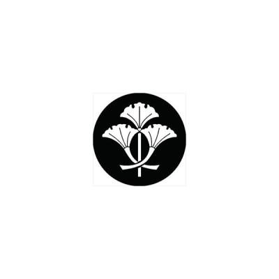 家紋シール 三つ立ち軸違い銀杏紋 直径4cm 丸型 白紋 4枚セット KS44M-1574W