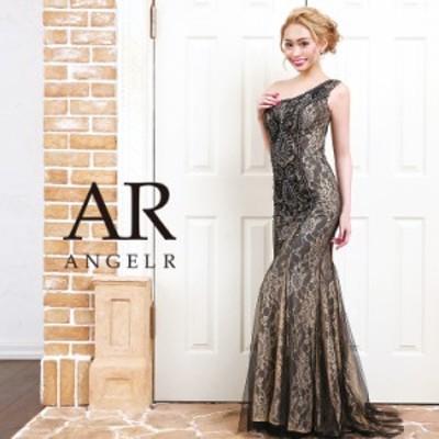 AngelR エンジェルアール [フラワーレースビジューワンショルダータイトロングドレス]ロングドレス タイト ワンショルダー 総柄 ビジュー