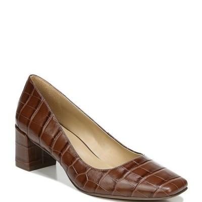 ナチュライザー レディース パンプス シューズ Karina Croc Embossed Leather Block Heel Pumps Brown Croc