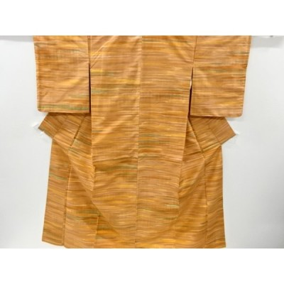 リサイクル 変わり横段模様手織り紬着物