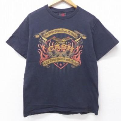 古着 半袖 ビンテージ ロック バンド Tシャツ 00年代 00s ジョニーキャッシュ コットン クルーネック 黒 ブラック Mサイズ 中古 メンズ T