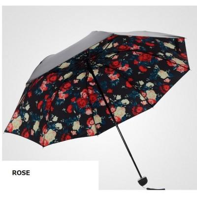 オシャレ☆日傘 雨兼用 折りたたみ傘 ビッグ花柄プリント UV遮光 パラソル 夜空 カバー 春夏 美白 ブラック 黒 日焼け防止 エレガント 可愛い