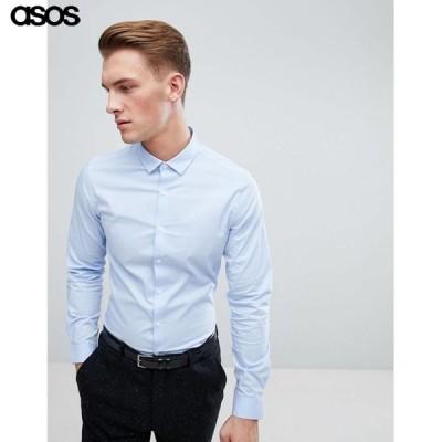 エイソス メンズ 長袖シャツ ブルー ASOS Stretch Slim Formal Work Shirt In Blue