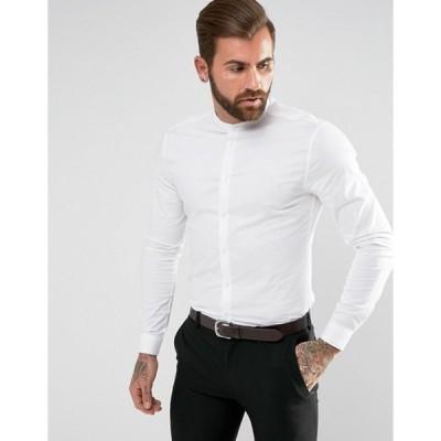 エイソス メンズ シャツ トップス ASOS Skinny Shirt In White With Grandad Collar