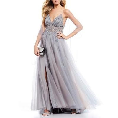 ジービー レディース ワンピース トップス Social Side Slit Jeweled Long Dress