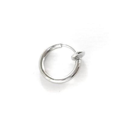 外径11mm 幅1.5mm フェイクピアス イヤリング フープ シルバー 銀 リング 輪っか バネ式 スプリング式 (シルバー)