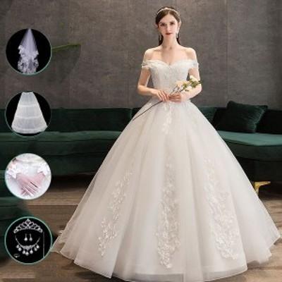 花嫁 ウェディングドレス プリンセスドレス 花嫁 結婚式 二次会 3タイプ 8点セットドレス エンパイアドレス ロングドレス ベール おしゃ