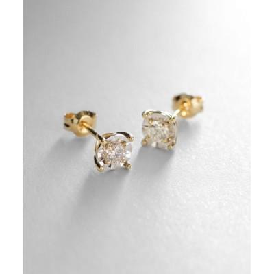COCOSHNIK(ココシュニック) K18ダイヤモンド ミラーカット大 スタッドピアス