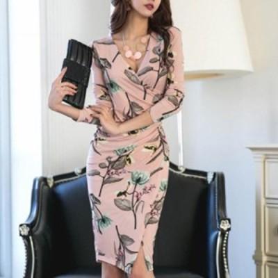 フローラル柄・カシュクールタイトドレス