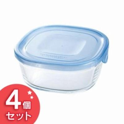 Iwaki NEWパック&レンジ 450ml(4個セット) アクアブルー KBT3240BLN 食品保存容器 収納 透明 電子レ