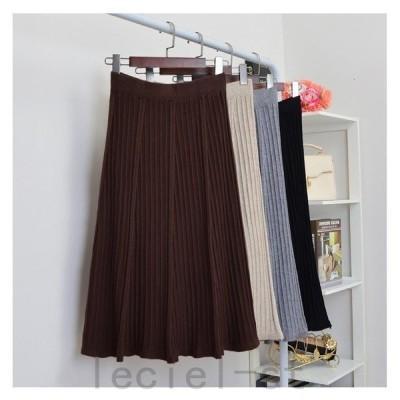 ニットプリーツ スカート ロング丈 フレア 韓国 韓国ファッション スカート フレアスカート ニット