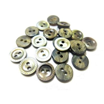 ボタン 手芸 素材 黒蝶貝 チャコ−ル グレー色系 約10mm 縄目 2穴 貝ボタン 12個入り