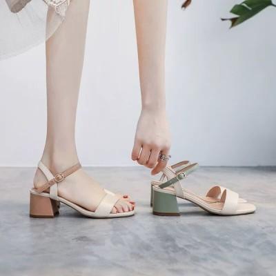 サンダル 女性 夏 韓版 全試合 ミッドヒール 厚いヒール 一言バックル 増加する 通気性 ハイヒール 滑り止め 女性 靴