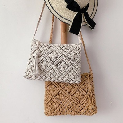 バッグ レディース きれいめ ケーブル編みバッグ 夏用 韓国風 かばん ビーチ バッグ ショルダーバッグ シンプル オシャレ 可愛い 小さい 2色