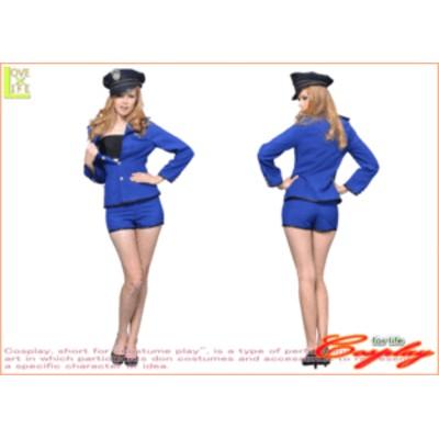【1 】シングルボタンジャケットブルー【USA】【警察】【ポリス】【婦人警官】【仮装】【コスプレ】タイトなデザインで、セクシーに着こ