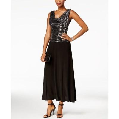 アールアンドエムリチャーズ ワンピース トップス レディース Metallic Sequined A-Line Dress Black/Silver