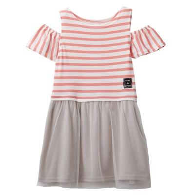 肩開き先染めボーダードッキングワンピース(女の子 子供服) ワンピース, Kids' Dress