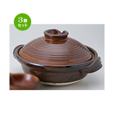 3個セット 土鍋 和食器 / アメ釉6.0深鍋 寸法:19.5 x 24 x 11.5cm